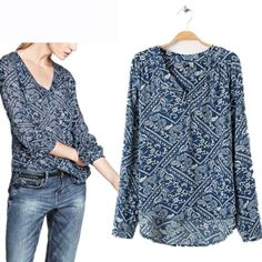 Find More Blouses & Shirts Information about Summer Spring Fashion Blusas Femininas V Neck Full Sleeve Shirt Chiffon Blouse Blue Cheap Clothes China Vintage Print Women Tops,High Quality Blouses & Shirts from Elife Houseware Store on Aliexpress.com