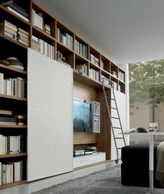 Wall Units Shelving Systems - The Finishing Touch to Your Interiors. Like the sliding door and its function of hiding either books of Tv behind it. Living Room Storage, Living Room Interior, Home Interior, Interior Architecture, Interior Design, Living Rooms, Wall Storage, Wall Shelving Units, Wall Units