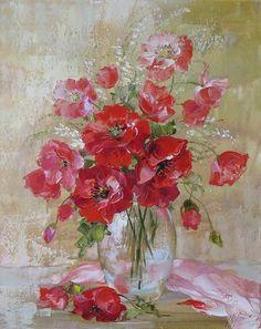 Ideas For Poppy Flower Art Palette Knife Acrylic Flowers, Abstract Flowers, Watercolor Flowers, Watercolor Paintings, Famous Art, Wow Art, Arte Floral, Winter Art, Art Oil