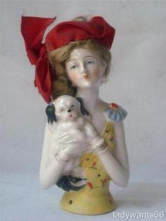 Large Art Deco German Porcelain Flapper Lady with Pekinese Pin Cushion Half Doll   eBay