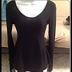 Black peplum top sz S M low scoop back with tail Sz Small but could also fit Medium.  Gorgeous peplum top, tailed back, scoop neck, in Great condition. You are not alone Tops