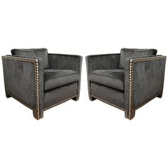 Pair of Studded Club Chairs   From a unique collection of antique and modern club chairs at http://www.1stdibs.com/furniture/seating/club-chairs/