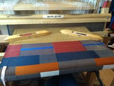 A commissioned piece on loom at The Aviary Studio, for Biella yarns. Yarns, Loom, Hand Weaving, Rugs, Studio, Interior, Fabric, Design, Home Decor