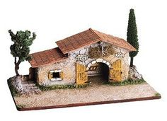 Stable Classic with Trees - Etable bis avec arbres - Size / Cricket Brick Works, Mexican American War, Pottery Houses, Miniature Houses, Alters, Xmas Decorations, Christmas Projects, Stables, Bird Houses
