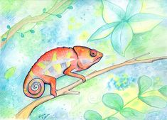 Chameleon illustration by Vena Carr, 2017