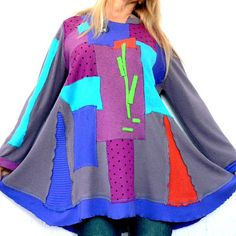 L-XL Fantasy appliqued patchwork recycled sweater tunic hippie boho.