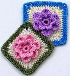 Kwadrat kwiat 3D Darmowe pattterns GrannyPlac kwiat Gardan Granny  przez Hiromi od Harujion Projektowania