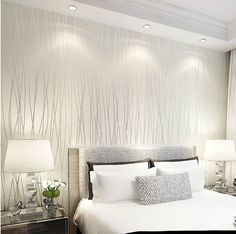 Wallpaper bedroom - Online Shop color Vertical Stripe Non Woven wallpaper,High Quality modern wall paper for bedroom living room home decoration Aliexpress Mobile Living Room Bedroom, Modern Bedroom, Master Bedroom, Bedroom Furniture, White Bedrooms, Furniture Layout, Furniture Design, Luxury Wallpaper, Wallpaper Decor