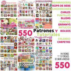Colección de colecciones: 550 patrones de puntos, y varios tejidos al crochet Crochet Cord, Crochet Granny, Filet Crochet, Crochet Book Cover, Crochet Books, Crochet Stitches Chart, Crochet Patterns, Crochet 101 Learning, Knitting Magazine