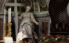 Pope Francis delivered his homily during a Mass in St. Peter's Basilica to mark the Epiphany on Jan. 6, 2016. The Epiphany is the day Catholics recall the journey of the Three Kings, or Magi, to pay homage to the Infant Jesus. (Gregorio Borgia / AP)