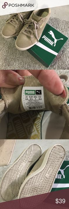 Puma suede snake, chinchilla-gold. Size 7 Bought at Nordstrom in Aug 2016 but wide size doesn't fit me. Barely used, still clean no stains. Beautiful beige/suede + beige gold snake accent on the back and side. No down price offer please. Thank you so much. Puma Shoes Sneakers