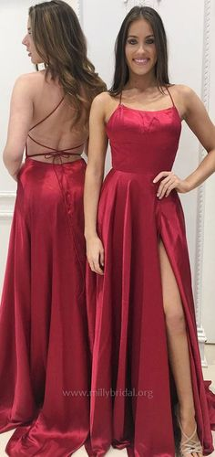 Burgundy Prom Dresses,Long Prom Dresses,2018 Prom Dresses For Teens,A-line Prom Dresses Scoop Neck,Satin Prom Dresses Modest