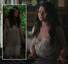 Belle's grey and white lace nightgown on Once Upon A Time