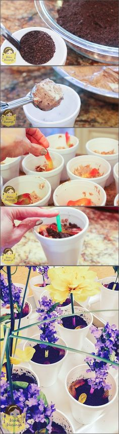 Oreo Dirt Cake Dessert Cups - Super fun for classroom parties complete with gummy worms.  Step-by-step photos.  <3