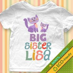 Cats Big Sister Custom Name baby one piece bodysuit, Infant, Toddler, Youth Shirt 10
