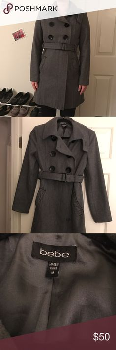 ❤️FINAL PRICE❤️ Bebe Wool Trench Winter Coat • New without tags. I only tried it on. Collar can be worn 2 ways. 60% wool 30% polyester 10% viscose.  - I reinforced the large buttons on the inside so they won't fall off.   - The inside lining looks to have a few watermarks/stains but they're not noticeable.  - Outside is excellent condition. Size medium, true to size in my opinion but could probably also fit a small person. Smoke free home.   🚫 NO TRADES! FINAL PRICE ❤️ I ship the same or…