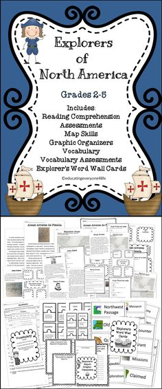 Explorer's Of North America - Includes reading comprehension, map skills, assessments, vocabulary, and word wall cards -  #socialstudies  #explorers  #reading