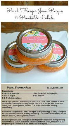 Easy and delicious peach freezer jam recipe (it's no-cook, so it's great for kids!) with free printable jar labels | 11 Magnolia Lane