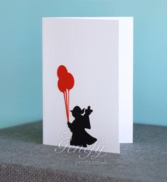 Star Wars Yoda Silhouette Card perfect for birthdays, anniversaries, party invitations www.genefyprints.co.uk