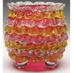 Art Glass Vase, Cranberry Glass