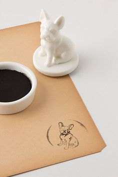French bulldog rubber stamp - so cute and different from the regular wood handle stamps