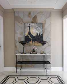 Contemporary console tables are essential to design pieces in any modern interior. This modern furniture is often found in entryways and hallways. Wall Panel Design, Floor Design, Modern Interior, Interior Design, Modern Furniture, Modern Hallway, Entryway Console, Foyer, Hallway Designs