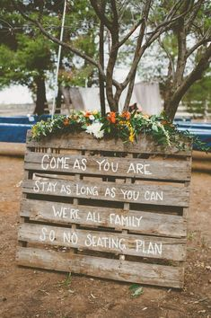 Fall Ceremony Sign: Welcome guests with an open seating message and a cozy wood . Fall Ceremony Sign: Welcome guests with an open seating message and a cozy wood display. Top off with your favorite flowers for the finished product. Cozy Wedding, Perfect Wedding, Dream Wedding, Lace Wedding, Wedding Dresses, Casual Fall Wedding, Casual Wedding Reception, Wedding Flowers, Woods Wedding Ceremony
