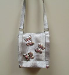 Classic Marlo Purse with Metallic Butterflies Silver Fake Leather-based Purse 1970s