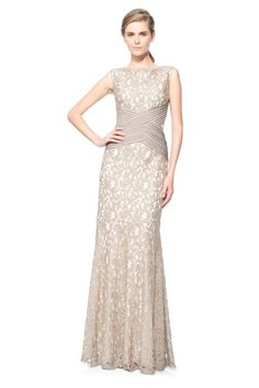 Lace Gown with Pintuck Jersey Waist