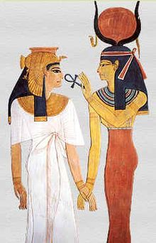 The goddess Hathor giving an ankh to Nefertari, one of the Great Royal Wives (or principal wives) of Ramesses the Great.