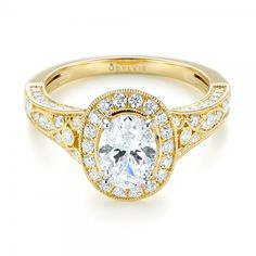 Two-Tone Yellow Gold Diamond Halo Engagement Ring | Joseph Jewelry | Bellevue | Seattle | Online | Design Your Own Ring