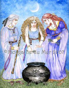 Maiden Mother Crone Triple Goddess Art Print Priestesses Pagan Wicca Fantasy Cauldron New Moon Ritual Pagan Gods, Pagan Witch, Maiden Mother Crone, New Moon Rituals, Pagan Art, Celtic Mythology, Triple Goddess, Sacred Feminine, Goddess Art