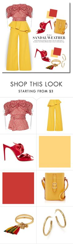 """Summer Red, Ruffle Sandals!"" by onesweetthing ❤ liked on Polyvore featuring Rosie Assoulin, Casadei, Chloé and Ippolita"