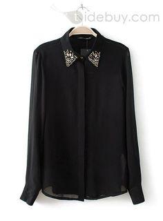 US$22.07 Best Quality Euramerican Pure Color Chiffon Blouse. #Shirts #Color #Best #Chiffon