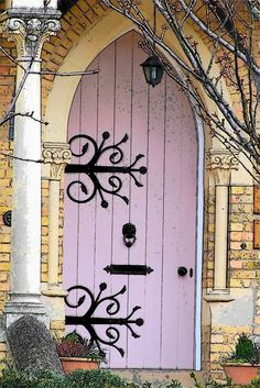15 Pink Front Door Designs To Insire | Shelterness- LIKE the hinges-would be fun painted on door or as a vinyl sticker