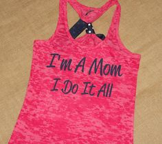 Im A Mom, I Do It ALL. Glitter. Bow. Tank. Racerback. Size S-2XL. Burnout. Black. Exercise. Workout. Fitness. Mom. via Etsy