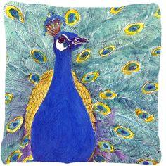 Peacock Indoor/Outdoor Throw Pillow