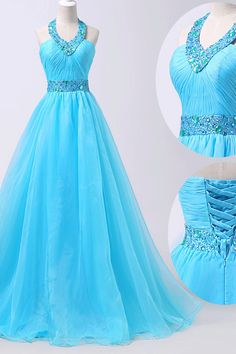 Long A-line/Princess Prom Dresses, Blue Sleeveless With Bandage Floor-length Prom Dresses #princesspromdresses #longpromdresses #eveningdresses