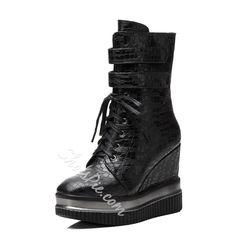 Shoespie Platform Hidden Elevator High Heel Boots