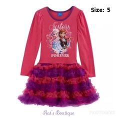 "Disney Frozen Anna & Elsa ""Sisters Forever"" Tutu Dress in Pink / Purple  Girls Size: 5  Product Details: *     Size: 5 *     Gender: Girl's *     Material:         Body- 60% Cotton, 40% Polyester,         Skirt Overlay Lining: 100% Polyester *     Color: Pink / Purple *     Long Sleeves  Condition:  New with Tags  ✨Price is Firm✨  ~ Thank you for looking ~"