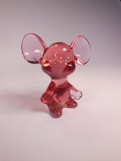 "Vintage Fenton Madras Pink  Mouse with Logo.  The Mouse is  2 3/4"" Tall and was made in 1990's.  This Little Mouse is RARE in this Color! by VintageQualityFinds on Etsy"