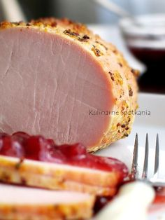 Polish ~ Kulinarne Spotkania: Schab pieczony w musztardowej skorupce - Culinary Meetings: Roast pork in mustard crust Pork Recipes, Cooking Recipes, Healthy Recipes, Homemade Ham, Polish Recipes, Love Eat, Pork Dishes, Pork Roast, Pork Loin