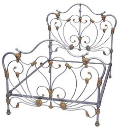 Art Nouveau Styling with all curvesand French Curve sides Antique Iron Beds, Wrought Iron Beds, Awesome Beds, Cool Beds, Iron Headboard, Headboards, Cozy Bedroom, Bedroom Ideas, Antique Furniture