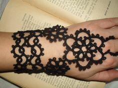 Tatting (Frivolite) Slave Bracelet - Tatted Black Lace Bracelet.