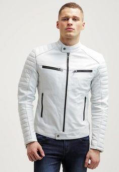 Men Real Cowhide Biker Leather Jacket, Biker jacket, Biker jacket sold by Bishoo. White Leather Jacket Mens, Cafe Racer Leather Jacket, Lambskin Leather Jacket, Denim Jacket Men, Biker Leather, Leather Jackets, Leather Men, Soft Leather, Real Leather