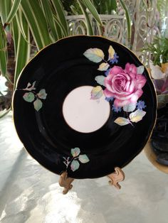 Antique Paragon Fine Bone China Paragon Queen Mary England Pink Rose Black Gold Rim Dessert Plate by TurnaroundThrift on Etsy https://www.etsy.com/listing/384398254/antique-paragon-fine-bone-china-paragon