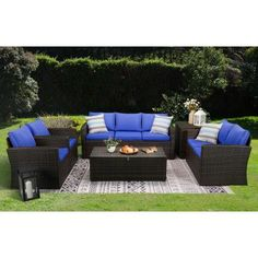 6-Piece Brown Wicker Outdoor Patio Conversation Set with Blue Cushions Blue Cushions, Sofa Cushions, Pillows, Rattan Sofa, Wicker, Structured Water, 3 Piece Sofa, Brindille