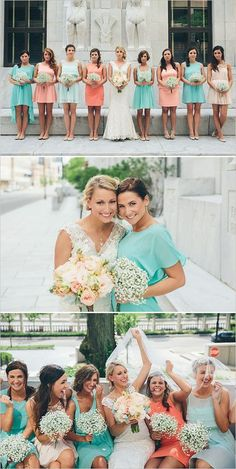 mismatched bridesmaids done right! peach and teal bridesmaids dresses. Saves money for the bridesmaids and looks awesome! Teal Bridesmaid Dresses, Bridesmaids And Groomsmen, Wedding Bridesmaids, Turquoise Bridesmaids, Turquoise Weddings, Bridesmaid Pictures, Teal Dresses, Turquoise Dress, Coral Dress