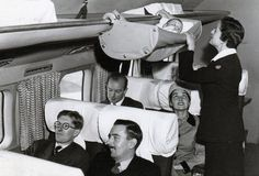 """This Is How Babies Used to Fly on Airplanes - During the 1950s, engineers at the British Overseas Airways Corporation (what we now call British Airways), developed the """"skycot."""" High Life, British Airways' in-flight magazine, tells us that parents would hold babies during takeoff and landing, but, while in the air, would place them in these hammocks clamped onto the overhead luggage racks. 