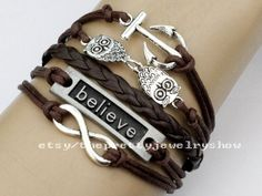 Infinity Wish Anchor Bracelet Cute Owl by ThePrettyJewelryShow, $5.39